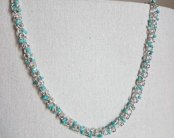 Byzantine Chain Necklace with Turquoise Beads