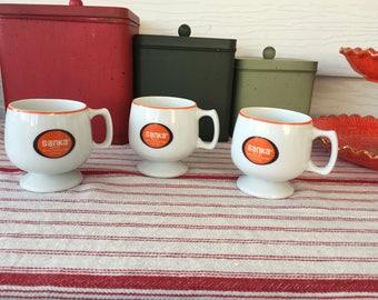 Trio of Vintage Sanka Mugs, Sanka, Coffee, Coffee Culture, Instant, Hot and Bitter, Retro Mugs, Retro Kitchen, Kitchenalia