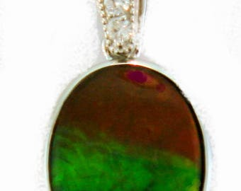 14K White  Gold Pendant with Canadian Ammolite and Diamond