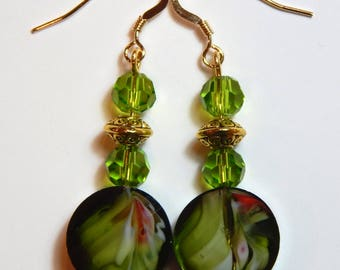 Green and Gold Earrings with 14k Gold Earwires