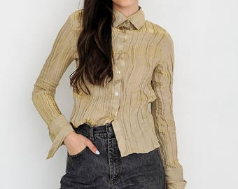 VINTAGE Gold Long Sleeve Retro Shirt