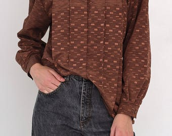 VINTAGE Brown MARTINELLI Long Sleeve Retro Shirt