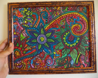 "Original Wall Art Abstract Watercolor painting Hand Paint ""8x10"" Sri Lankan traditional painting living room decor multi color painting"