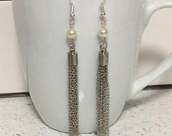 Silver & Pearl Tassel Earrings