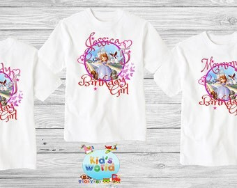 Princess Sofia Family birthday shirt,Custom shirt ,personalized Princess Shirt, family shirt,birthday shirt,kids custom birthday shirt d10