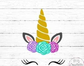 Unicorn with Roses SVG, Unicorn Face SVG, Unicorn SVG