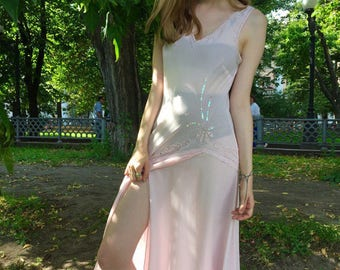 Light pink 70's transparent dress