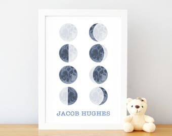 Watercolor Moon Print for Kids, Personalized Moon Phase Personalised Moon Phase Art, Outer Space Print Kids, Moon Phase Print, UNFRAMED