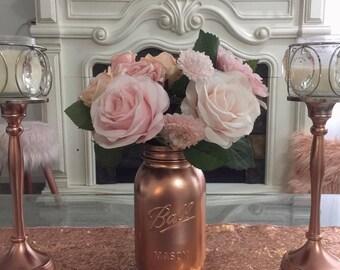 Rose Gold Mason Jar (32 oz)