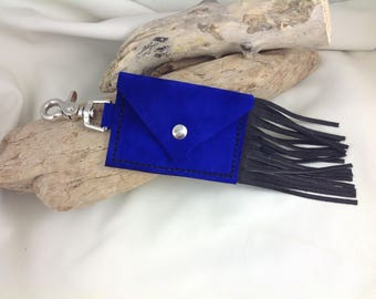 Royal Blue Key/Card Holder With Black Fringe