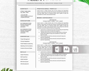 Modern Resume Template for Word, Creative, Modern Resume Design, Modern CV Template for Word, Instant Download Resume Template