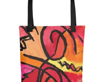 Red Ride - Amazingly beautiful full color tote bag with black handle featuring children's donated artwork.