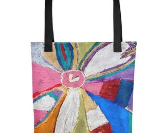 Colorful Abstract Flower - Amazingly beautiful full color tote bag with black handle featuring children's donated artwork.
