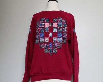 90's Vintage Quilted Sweatshirt/ Hand Made/ Quilted Sweatshirt/ Beautiful Cut Out Quilt Sweatshirt/ Hipster/ Grunge/ Heart Design/ Small