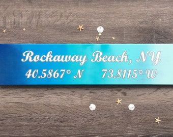 CUSTOM Longitude Latitude Wood Sign – Blue Ombre – Hand Painted – White Script Lettering w Metallic Silver Outline- Long/lat sign