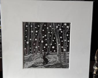 Wood Engraving 'Snow Storm Bunny'