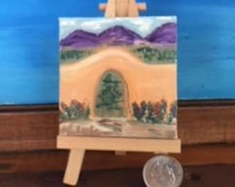 Adobe Wall in the Heart of the Southwest Mini Oil Painting on Canvas with Wooden Easel