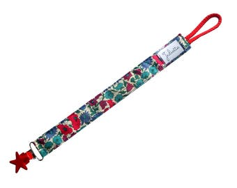 Liberty Poppy and Daisy Blue and Red pacifier clip