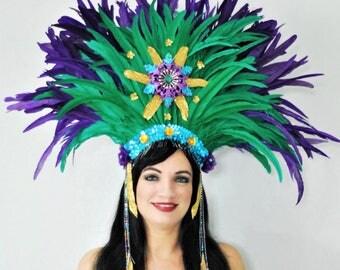purple, green & gold / Mardi Gras feather headdress