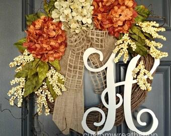 Everyday Wreath,Hydrangea Wreath,Year Round Wreath,Front Door Wreath,Spring Wreath,Door Wreath,Grapevine Wreath,Farmhouse Decor,Mother's Day