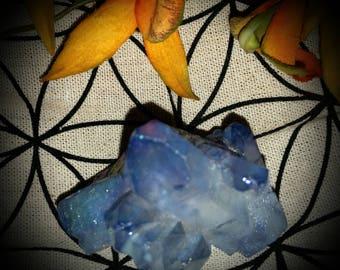 Light blue titanium aura crystal quartz cluster
