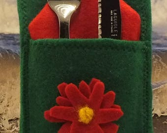 Cutlery bag with red Marguerite