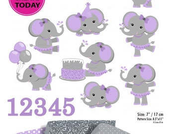Purple Gray Girl Elephant Clip art, Baby grey peanut clip art, png. Nursery, Baby Shower,birthday party, instant download commercial license