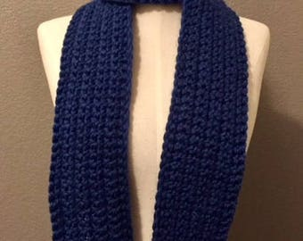 Crochet Long Blue Wool Scarf