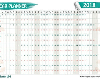 A2 Wall Planner 2018 poppy design