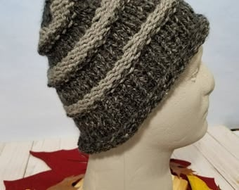 Hand Knit Hat, Beanie Gray and Black