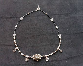 Crystal Necklace with Swarovski crystals, glass and resin grey/metal adjustable nickel free