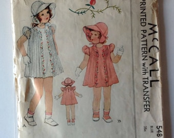 McCall 548 Girls Dress and Hat Size 6 Vintage 1940's
