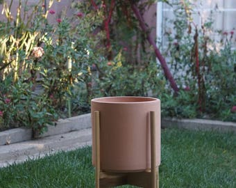 Hand Made California Plant Stands with Modern Planter