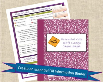 Essential Oil SAFETY Cheat Sheet Printable Healthy Journal - Essential Oil Book, Health Printable, Planner Pages PDF, Worksheet PDF