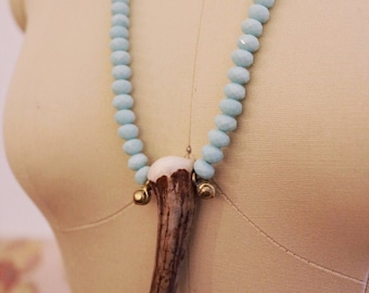 Boho Bead and Antler Necklace