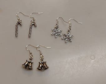 Christmas Winter Earrings Candy Canes Snowflakes or Bells