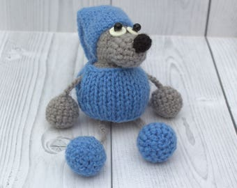 Crochet stuffed mouse toy - Beautiful gray mouse in clothes - Tiny mouse in hat - Crochet little mouse - Crochet gray mouse