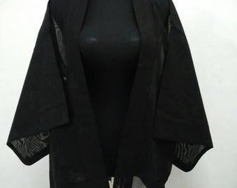 Japanese haori kimono black embroidered floral kimono jacket /kimono cardigan/kimono robe/#050