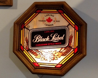 Vintage Carling Black Label hanging lighted sign