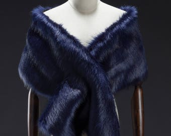 Navy Faux Fur Wrap, Bridal Fur Stole, Fur Cape, Wedding stole fur, Faux Fur Shrug, Faux Fur shawl