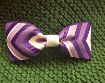 Purple Chevron Hair Bow