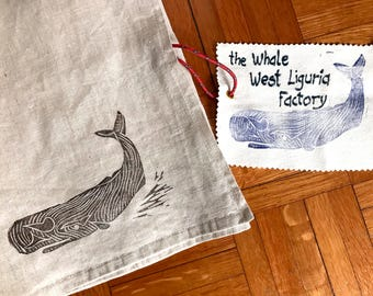 Hand printed pillowcase with cetacean motif-hand stamped whale pillow case