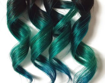 Green hair extension etsy ready to ship 10 teal green blue 100 human hair clip in ombre dip pmusecretfo Gallery