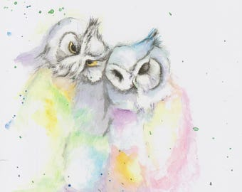 Owl Couple Watercolour Print