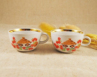 Tea cups USSR Set tea cup Soviet cup Vintage tea cups Ukrainian tea cups Ethno cups Baby vintage cups Retro cup Porcelain tea cups USSR cup
