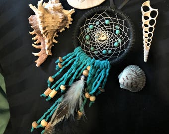 small dreamcatcher // teal, jade, and abalone accents // handmade