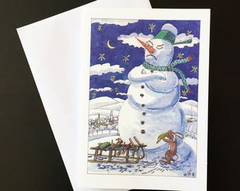 "Barter-Christmas card ""snowmen, hares and carrot noses"""