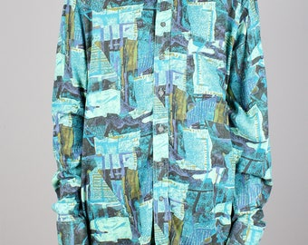 90s pattern shirt - vintage blue green print - all over abstract pattern - 1990s button down shirt - long sleeve blouse geometric - unisex