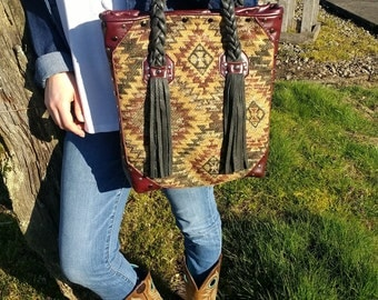 Tapestry leather and Tassel bag