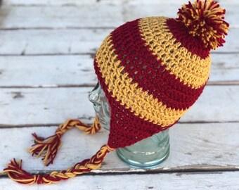 Harry Potter Inspired Gryffindor Beanie W/ Pom Pom